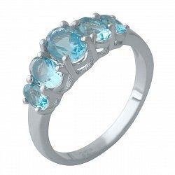 Серебряное кольцо с синтезированными аквамаринами и родированием 000128939