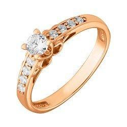 Кольцо из красного золота с фианитами 000106403