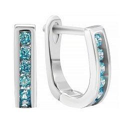 Сережки из серебра с голубым цирконием 000035336
