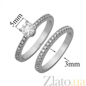 Двойное кольцо из белого золота с бриллиантами Бриджит YZ72124
