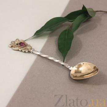Серебряная чайная ложка Александрия с розовым корундом и позолотой 000080548