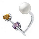 Серебряное кольцо с жемчугом, аметистом и корундом Яркое трио