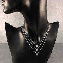 Многослойное серебряное колье Эллиптика с фианитами
