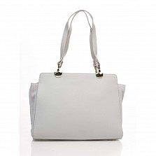 Деловая сумка из кожи и замши Genuine Leather 8939 серого цвета на молнии, с нашивным карманом
