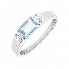 Золотое кольцо Фишери в белом цвете с голубым топазом и брилл