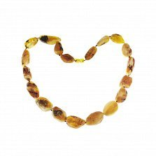 Янтарные бусы Мальна со светлыми необработанными камнями, 51,4г