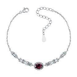 Серебряный браслет с рубином и цирконием 000139782