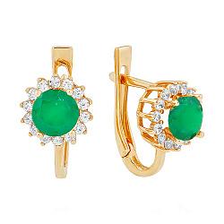 Золотые серьги с зеленым ониксом и фианитами 000037030
