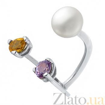 Серебряное кольцо с жемчугом, аметистом и корундом Яркое трио 66Ж-ЦАЖ