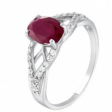 Серебряное кольцо Тропикана с рубином и фианитами