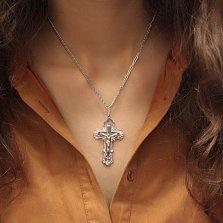 Серебряный родированный крест Символ спасения с геометрической основой