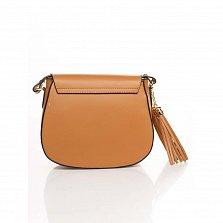 Кожаный клатч Genuine Leather 6209 коньячного цвета с клапаном на магните и плечевым ремнем