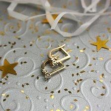 Золотые серьги Алиса в евро цвете с бриллиантами