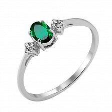 Серебряное кольцо с изумрудом и фианитами 000117867