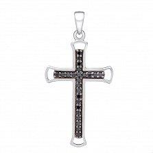 Крестик в белом золоте Нагори с бриллиантами