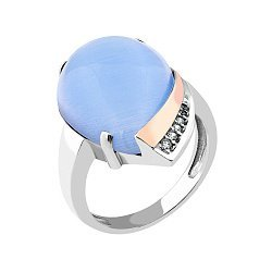Серебряное родированное кольцо с золотой накладкой, фиолетовым улекситом и фианитами 000067273
