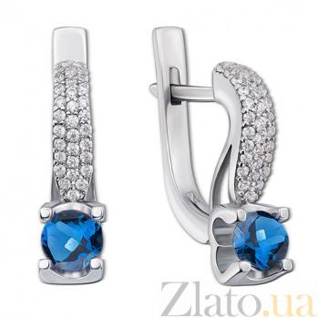 Серебряные серьги Флори с синими топазами Лондон
