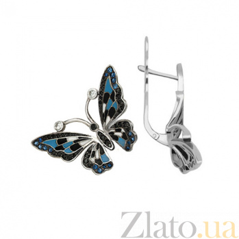 Серьги из белого золота с синим цирконием Бабочки VLT--Т278-4