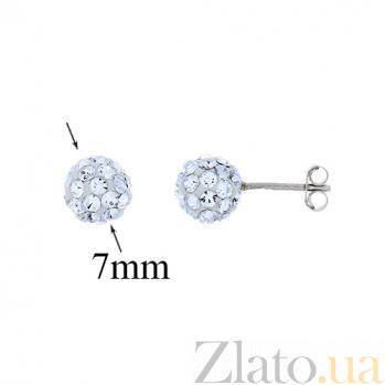 Серебряные серьги с кристаллами Сваровски Эльма AQA--220550004/8