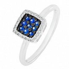Золотое кольцо Крост с сапфирами и бриллиантами