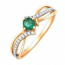 Золотое кольцо Мирра с изумрудом и бриллиантами