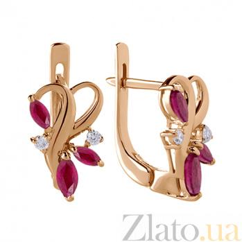 Серьги в красном цвете золота с рубинами и бриллиантами Рубиния TRF--2121362н