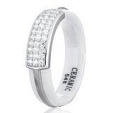 Серебряное кольцо Сантери с керамикой и фианитами