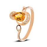 Золотое кольцо с цитрином Sunny Citrine