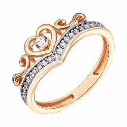 Кольцо-корона из красного золота с фианитами 000132824