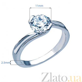 Серебряное кольцо с фианитом Нежное чувство 000026978