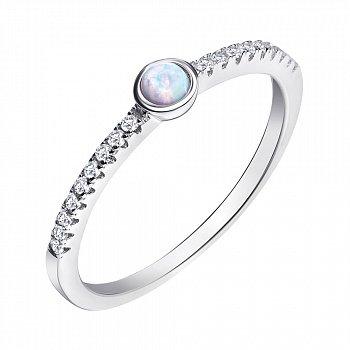 Серебряное кольцо с опалом и фианитами 000139618