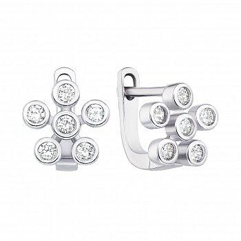 Серебряные серьги с фианитами 000135908