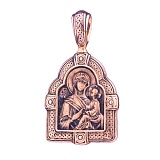Золотая ладанка с чернением Тихвинская икона