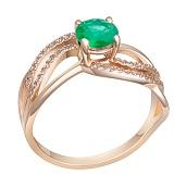 Кольцо в красном золоте Белла с изумрудом и бриллиантами