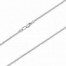 Серебряная цепочка Манон с родием в панцирном плетении, 2мм