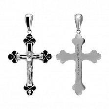 Серебряный крест Лучезарный с черной эмалью, 50х37мм