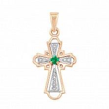 Золотой крестик Гармония в комбинированном цвете с изумрудом и бриллиантами