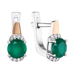 Серебряные серьги с золотой вставкой, зеленым агатом и фианитами 000134808