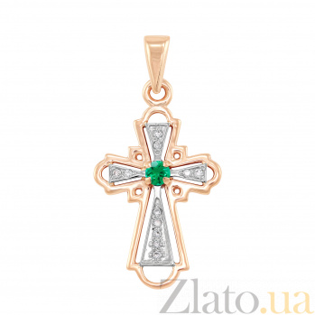 Золотой крестик Гармония в комбинированном цвете с изумрудом и бриллиантами VLA--33142