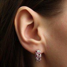 Серебряные серьги с бриллиантами и рубинами Колосок