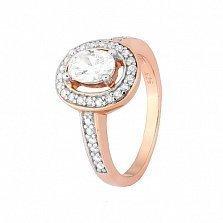 Позолоченное серебряное кольцо с фианитами Марион