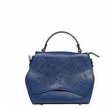 Кожаный клатч 6203 в синем цвете с принтом на клапане, короткой ручкой и ремнем на плечо