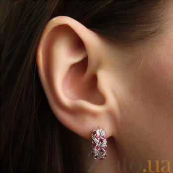 Серебряные серьги с бриллиантами и рубинами Колосок ZMX--EDR-15431-Ag_K
