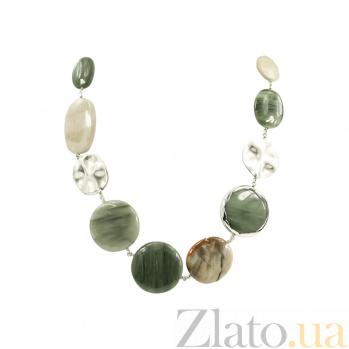 Колье из серебра с агатами и яшмой Эмилия 5Л158-0391