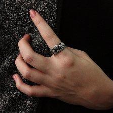 Серебряное черненое кольцо Строгая сова с черными фианитами