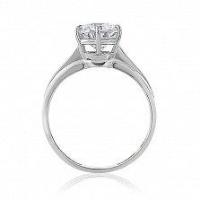Золотое кольцо Гарнет в белом цвете с кристаллом Swarovski