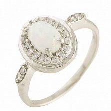 Серебряное кольцо Адель с белым опалом и фианитами