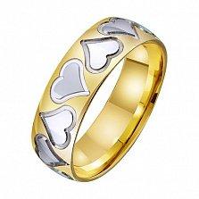 Золотое обручальное кольцо Любящее сердце