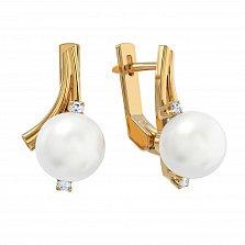 Золотые серьги Амелия с белым жемчугом и бриллиантами