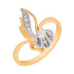 Кольцо в красном и белом золоте с фианитами 000096720